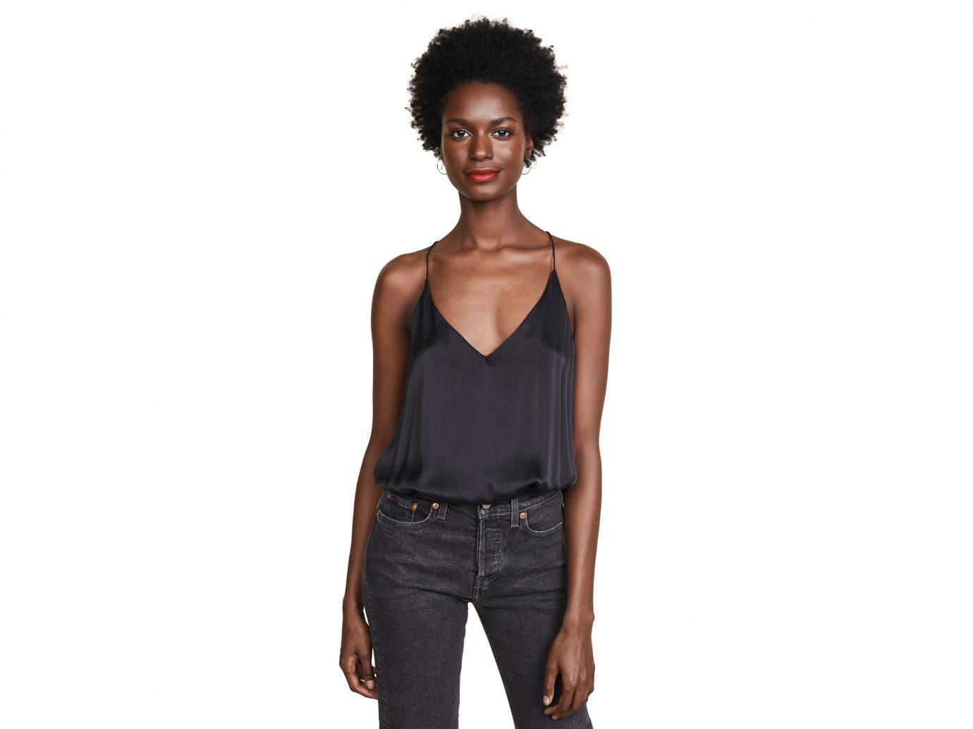 The Lisa Bodysuit black silk cami