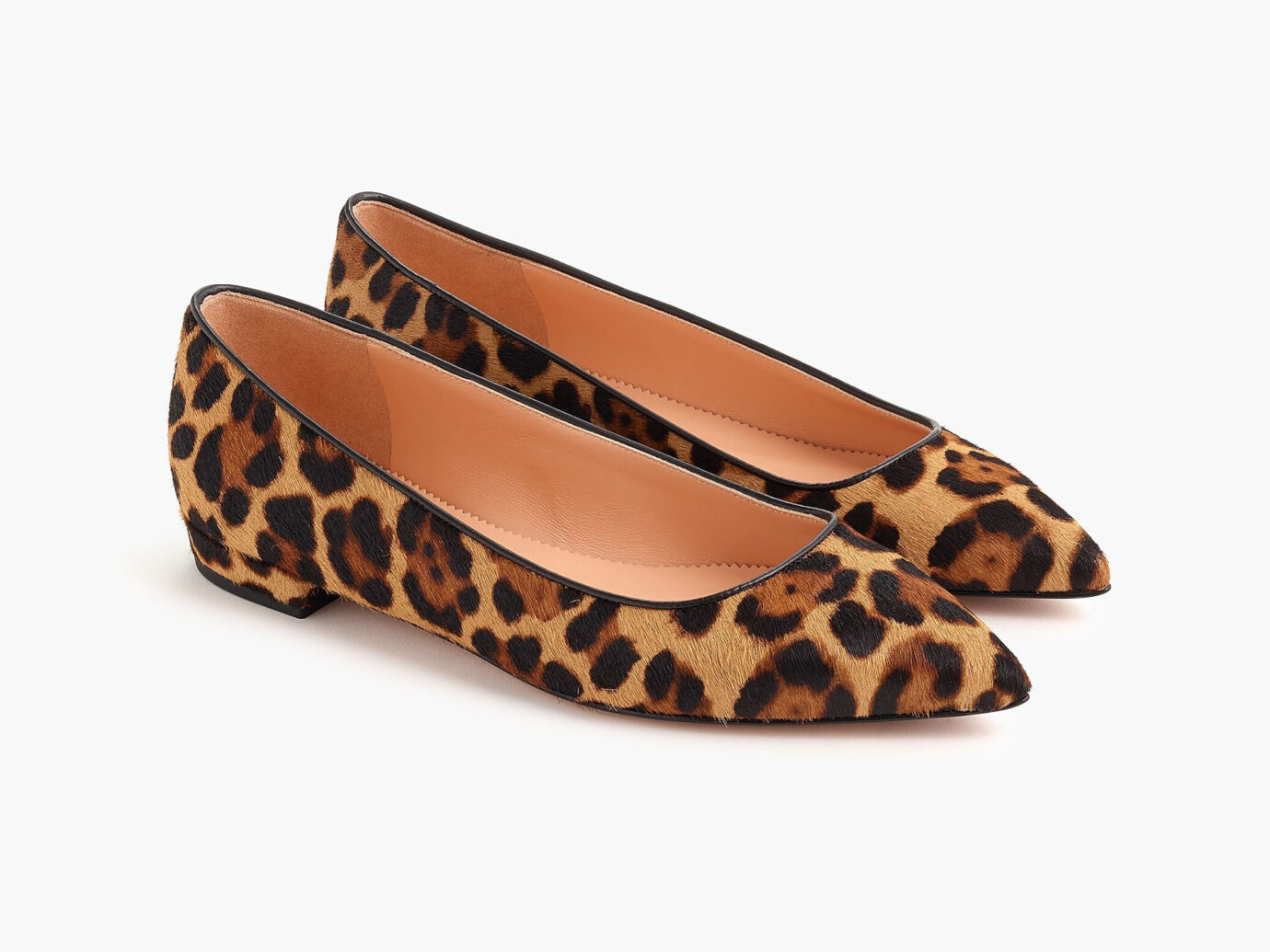 J.Crew Pointed-Toe Flats in Leopard Calf Hair