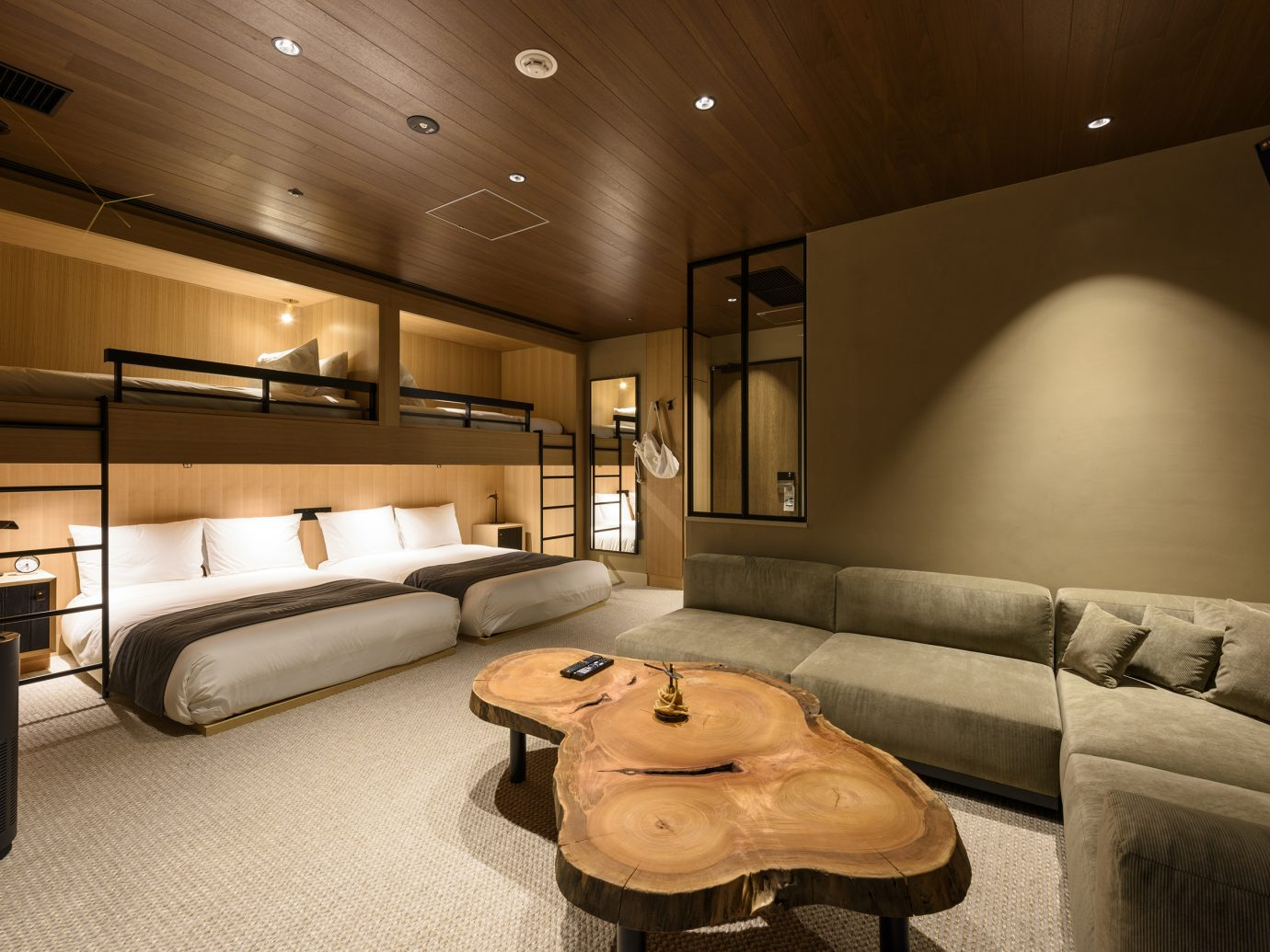 Double queen bed room with twin bed lofts at the Trunk Hotel in Shibuya