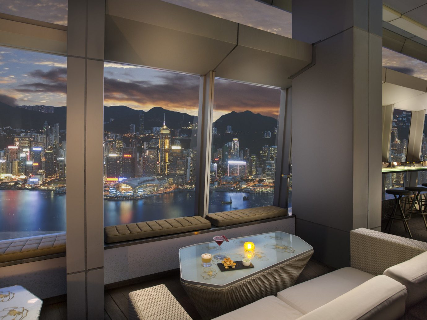Hong Kong skyline from Ritz-Carlton interior