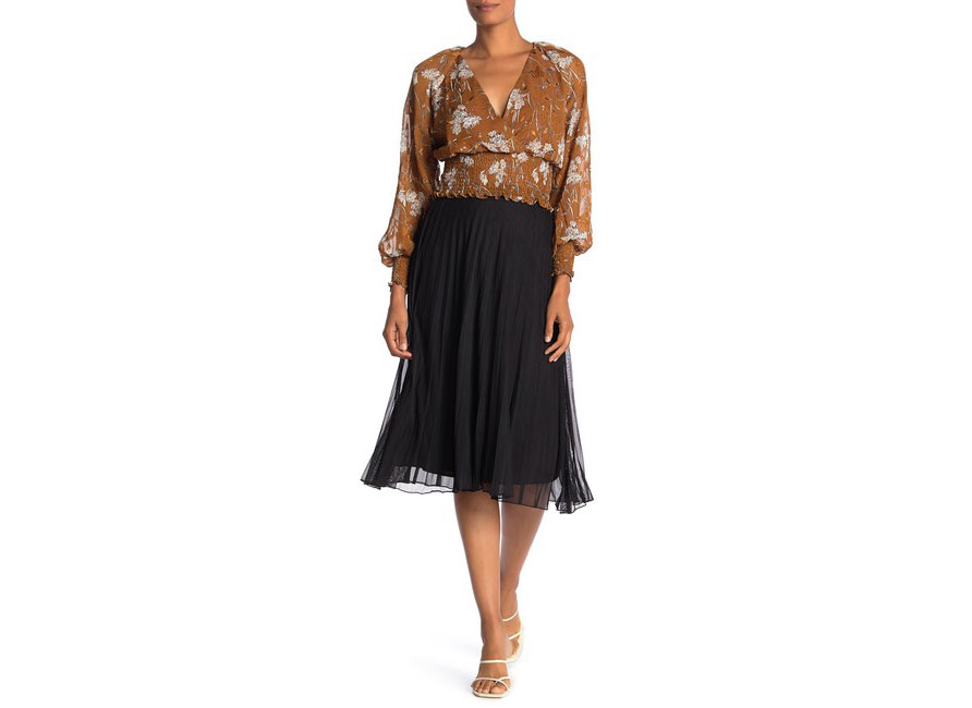 Know One Cares Pleated Mesh Midi Skirt