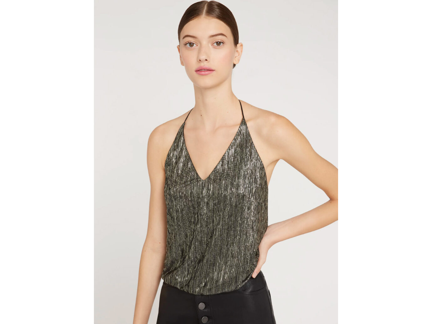 Alice + Olivia Fern Metallic Halter Top