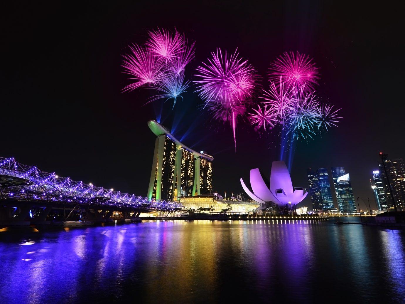 Fireworks over singapore Skyline