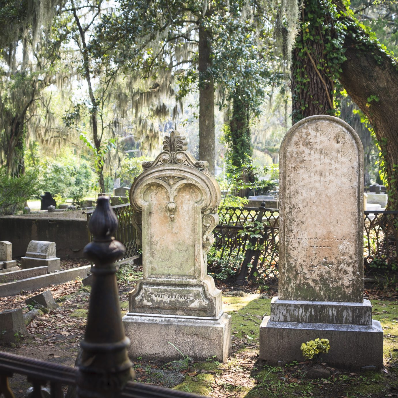 Tombstones and gravesite at Bonaventure Cemetery, Savannah, Georgia.