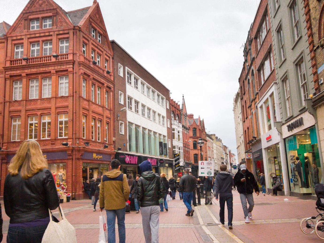 View of Grafton Street with shoppers in Dublin Ireland