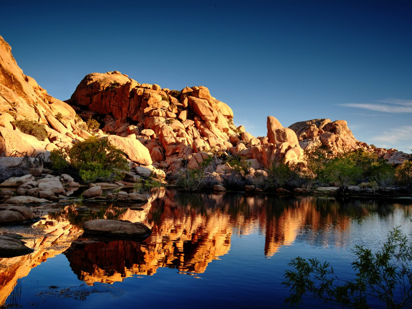 Early morning reflection at Barker Dam in Joshua Tree National Park