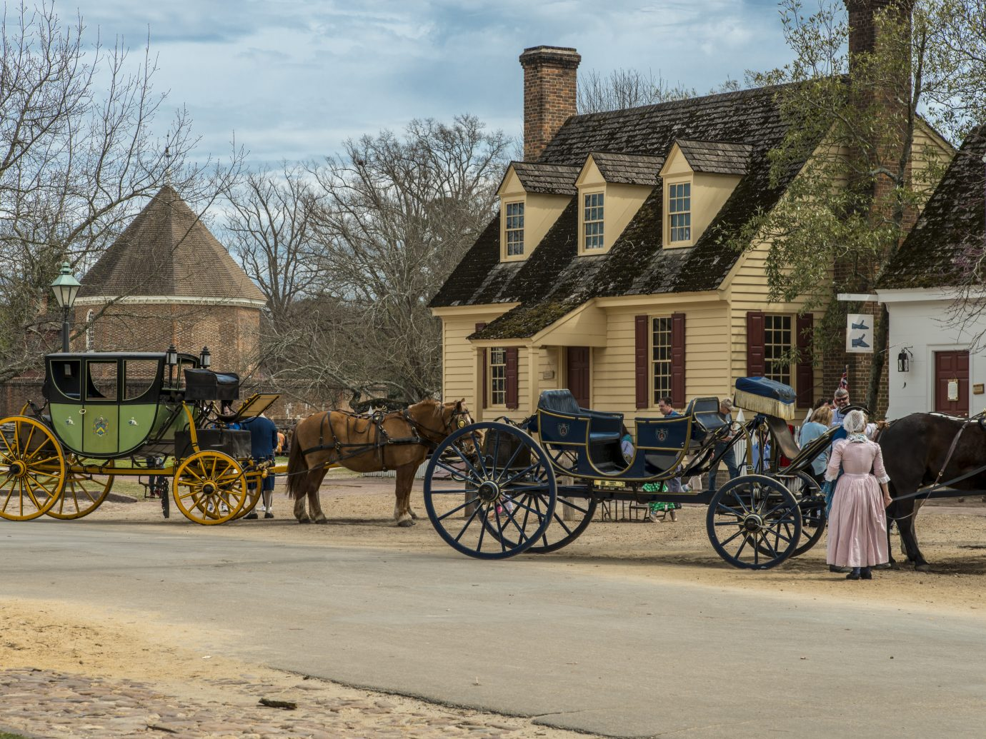 Horse drawn carriage tours in British Colony in Williamsburg, Virginia, USA.