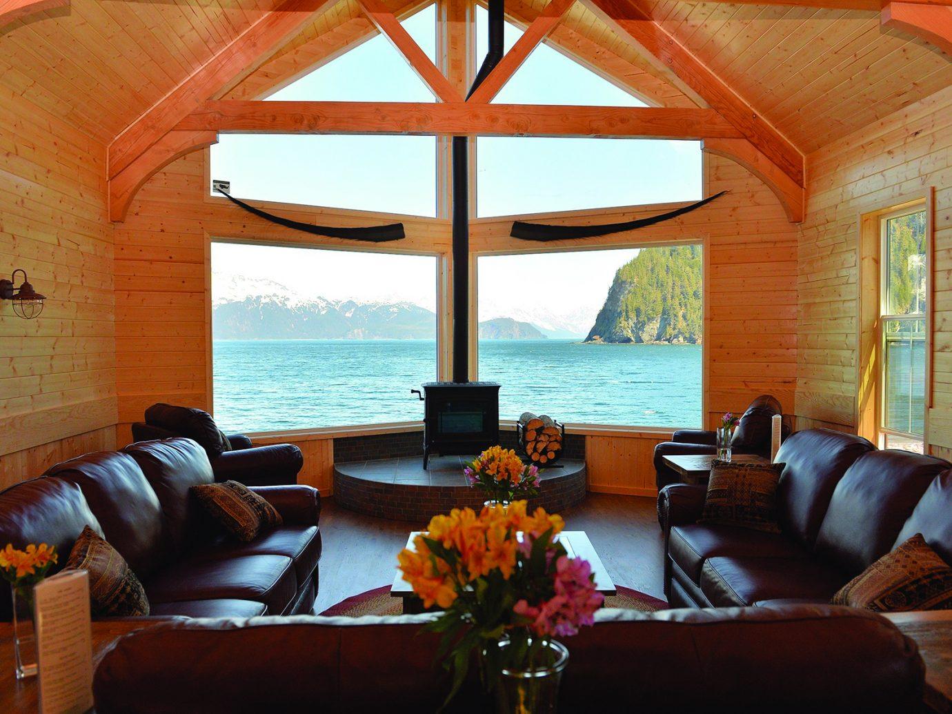 Living room at Kenai Fjords Wilderness Lodge, Alaska