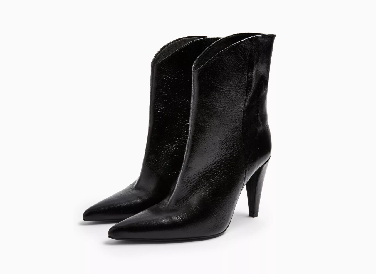 TopShop Havana Leather Black Boots
