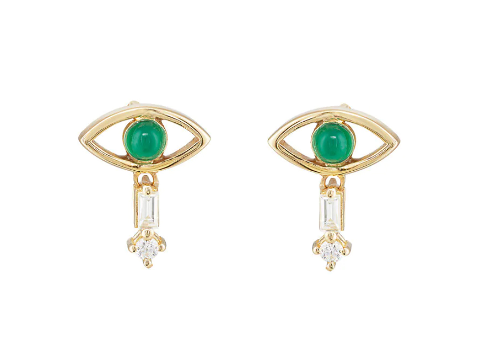 Ileana Makri Mixed-Gemstone Eye Stud Earrings