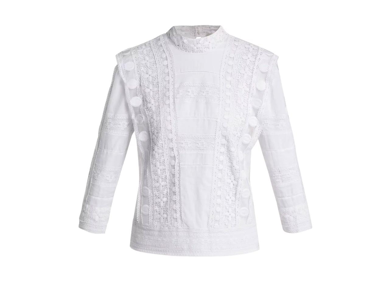 Sea Ila crochet lace-embroidered cotton blouse