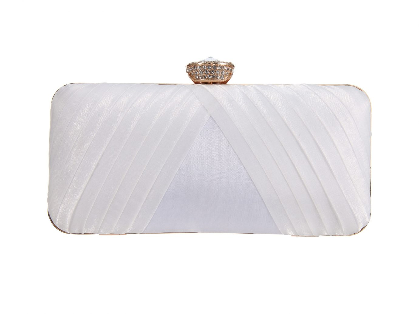 NINA Hypatia Pleated Satin Minaudière in Ivory