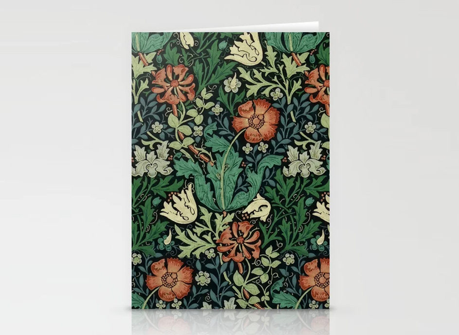William Morris Compton Floral Art Nouveau Pattern Stationery Cards