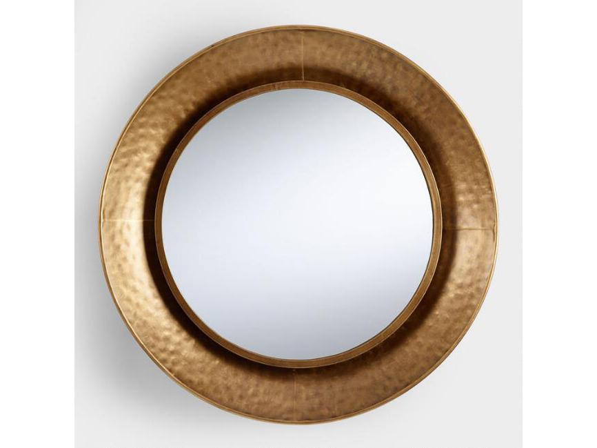 World Market Hammered Round Gold Mirror