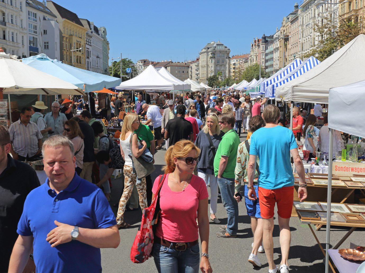 People shopping at Naschmarkt in Vienna