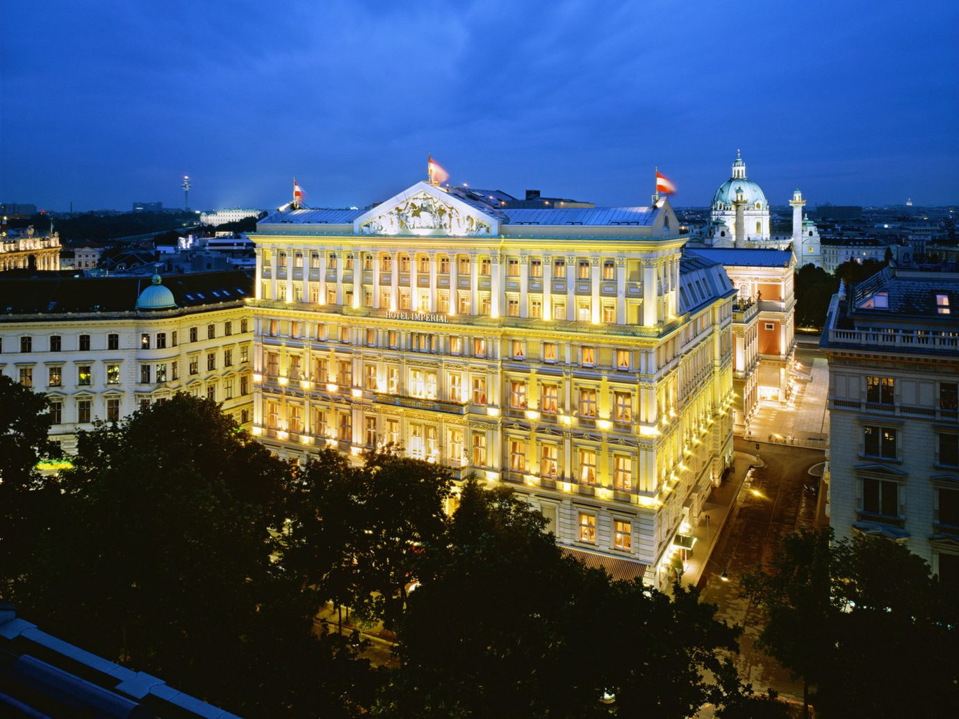 View of Hotel Imperial at night