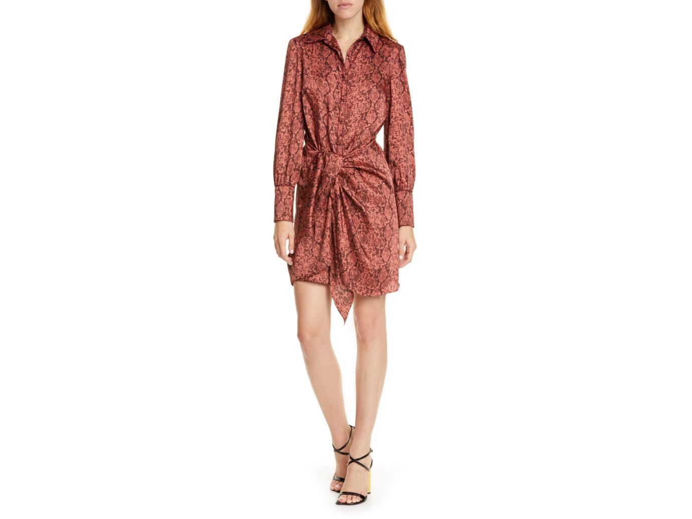 Cinq à Sept Gaby Python Print Long Sleeve Shirtdress
