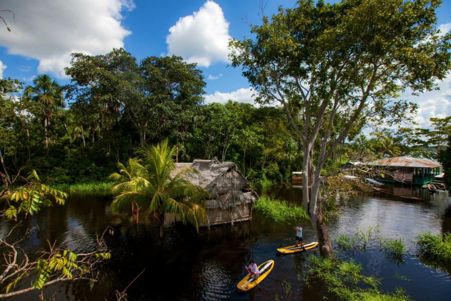Kayak excursion from Delfin Amazon Cruises