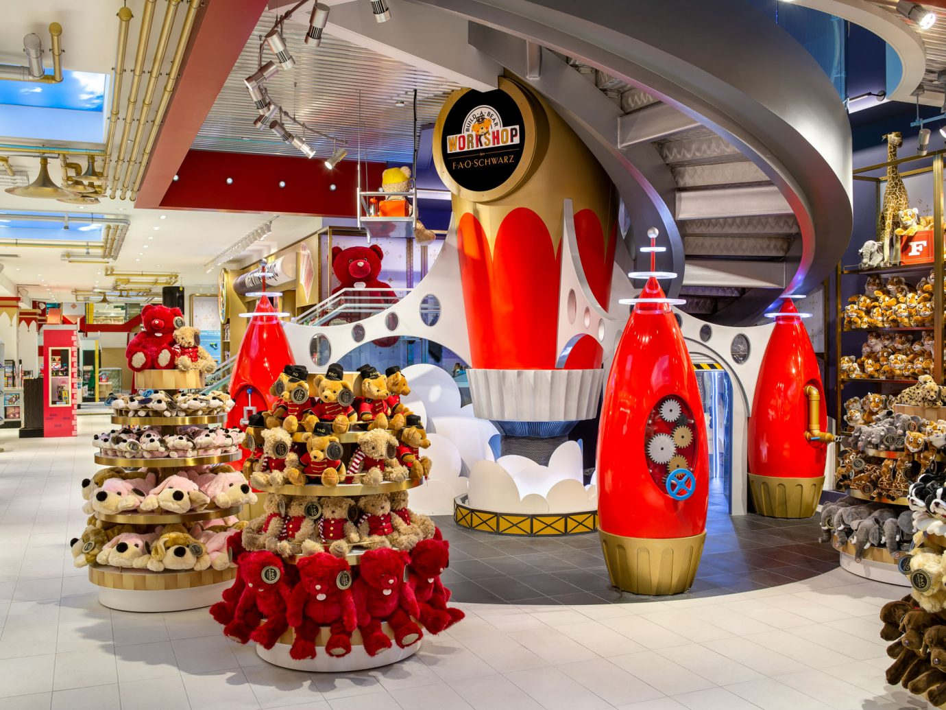 FAO Schwartz interior with a large rocket display