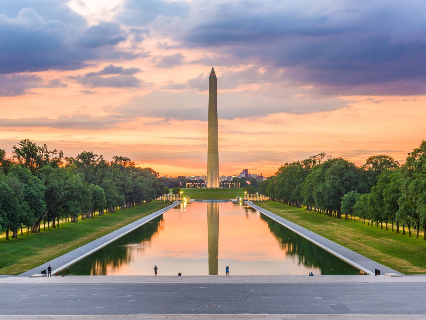 Washington Monument on the Reflecting Pool in Washington, D.C. at dawn.