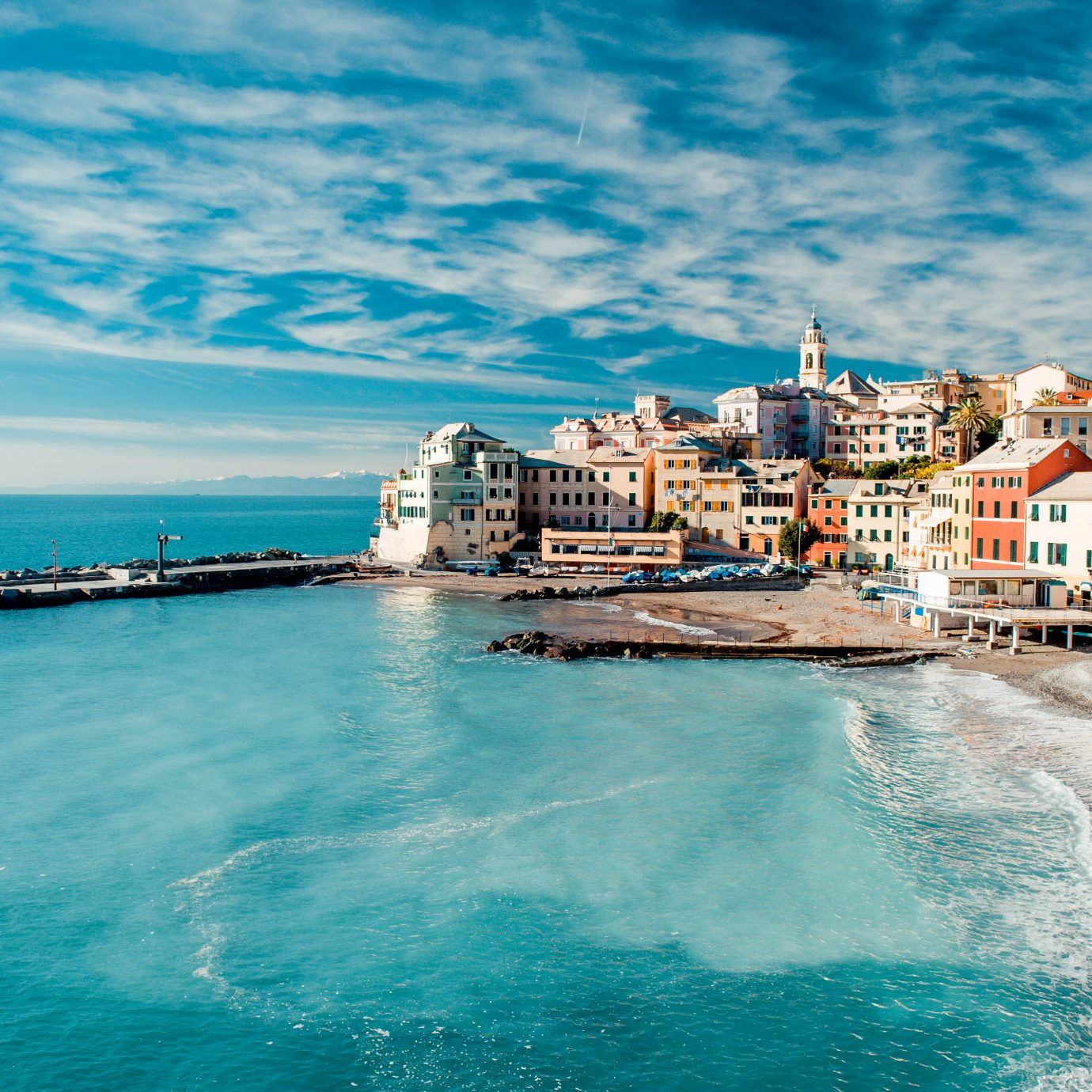 View of blue water in Genoa, Italy