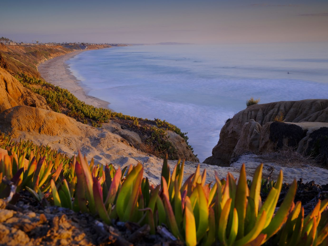 Looking South down the North County San Diego Coast from Carlsbad to Encinitas California
