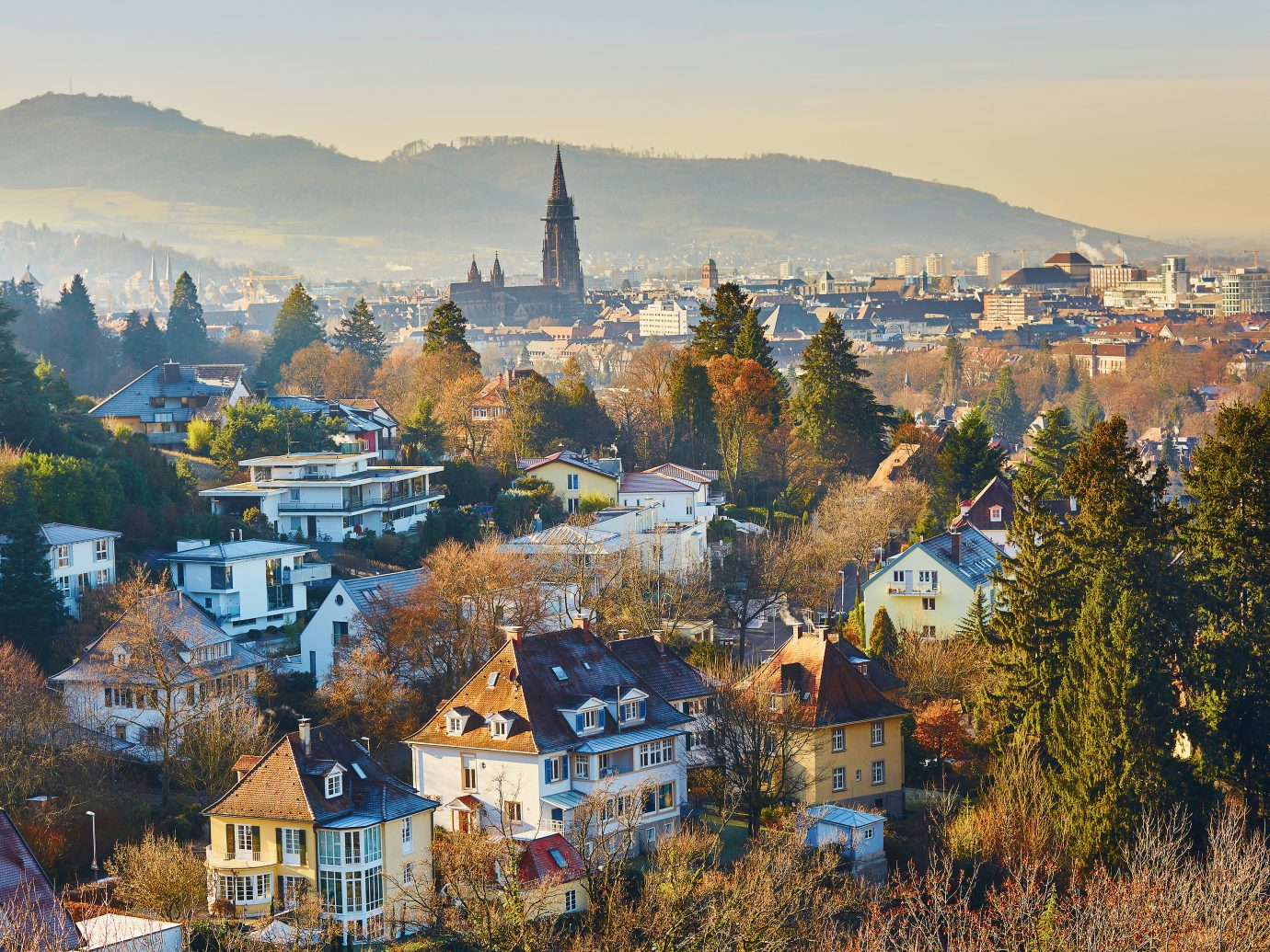 Beautiful panorama of Freiburg im Breisgau in Germany