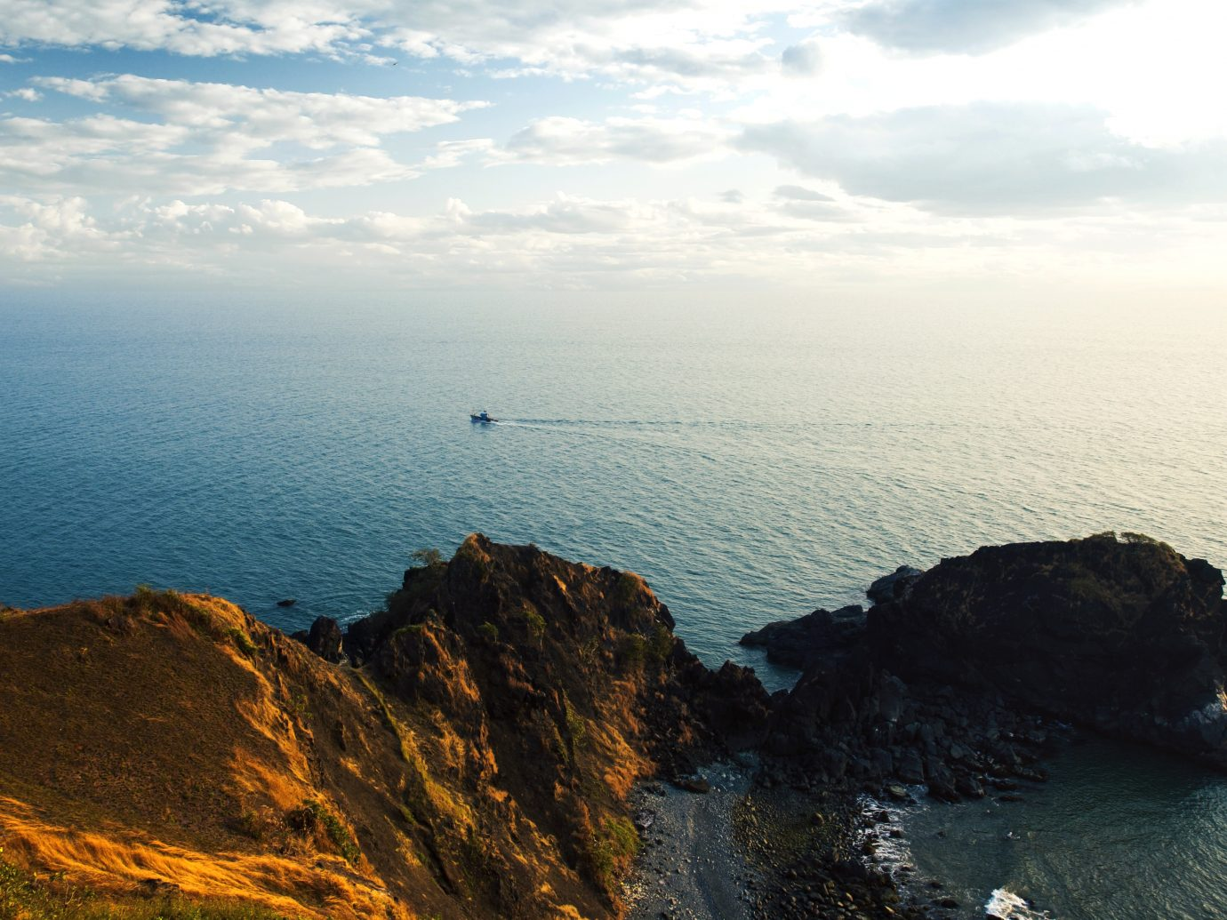 beautiful view of the water from high cliff in Goa, India
