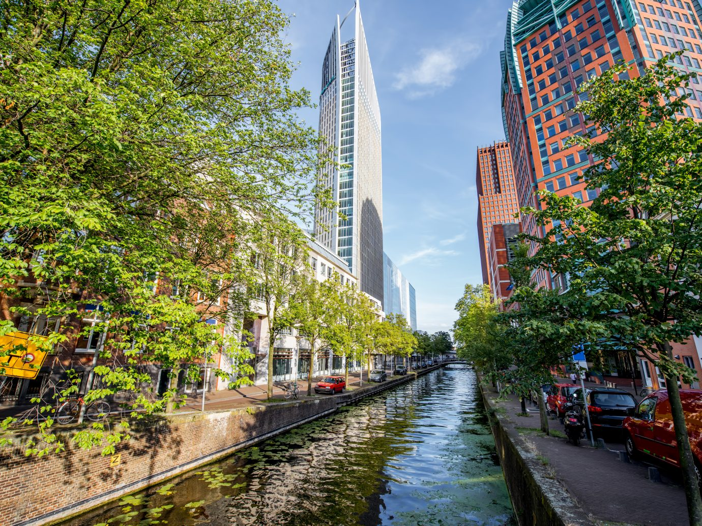 View on the water channel and beautiful skyscrapers in Haag city, Netherlands