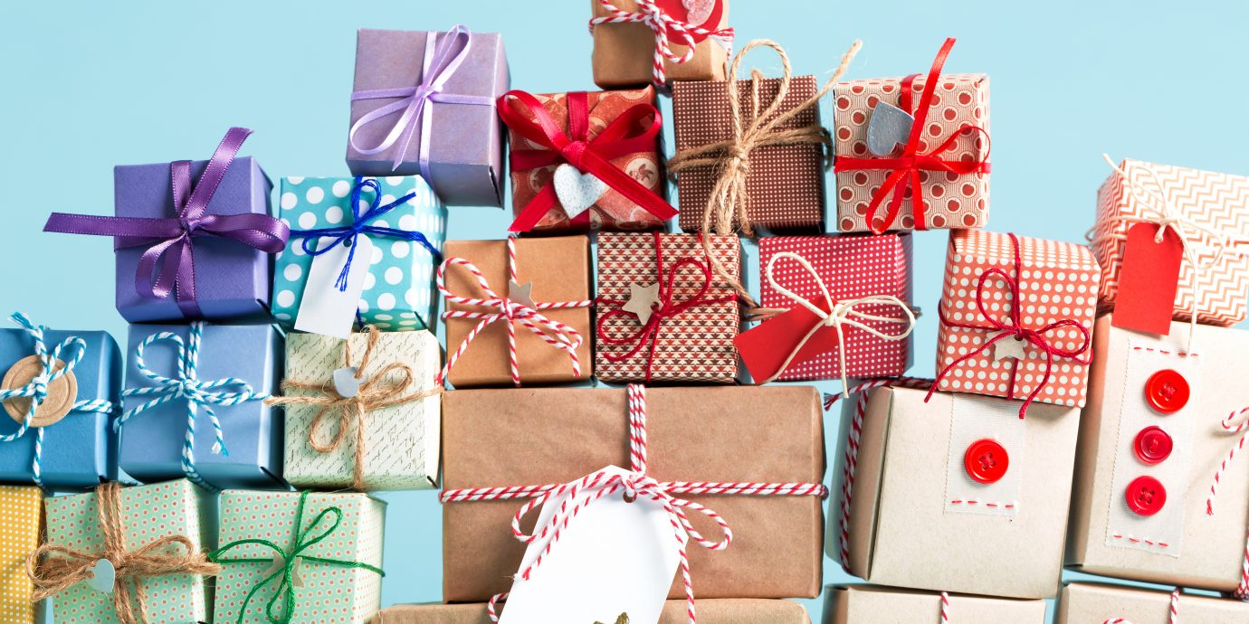 Black Friday Deals, Collection of Christmas present boxes on a light blue background