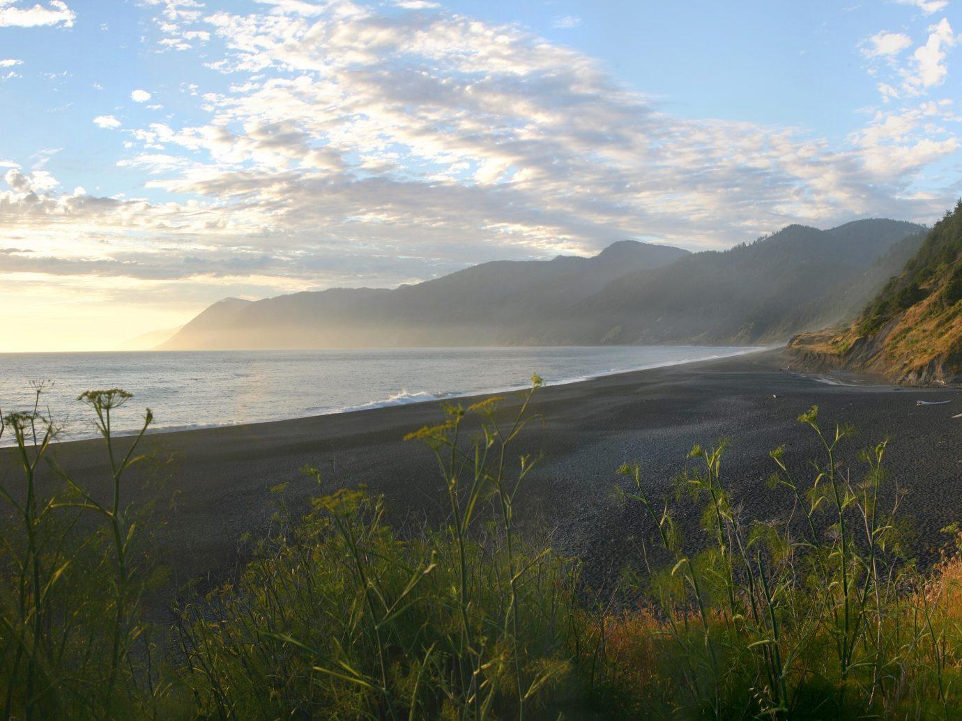 Evening light along California's Lost Coast and black sand beach