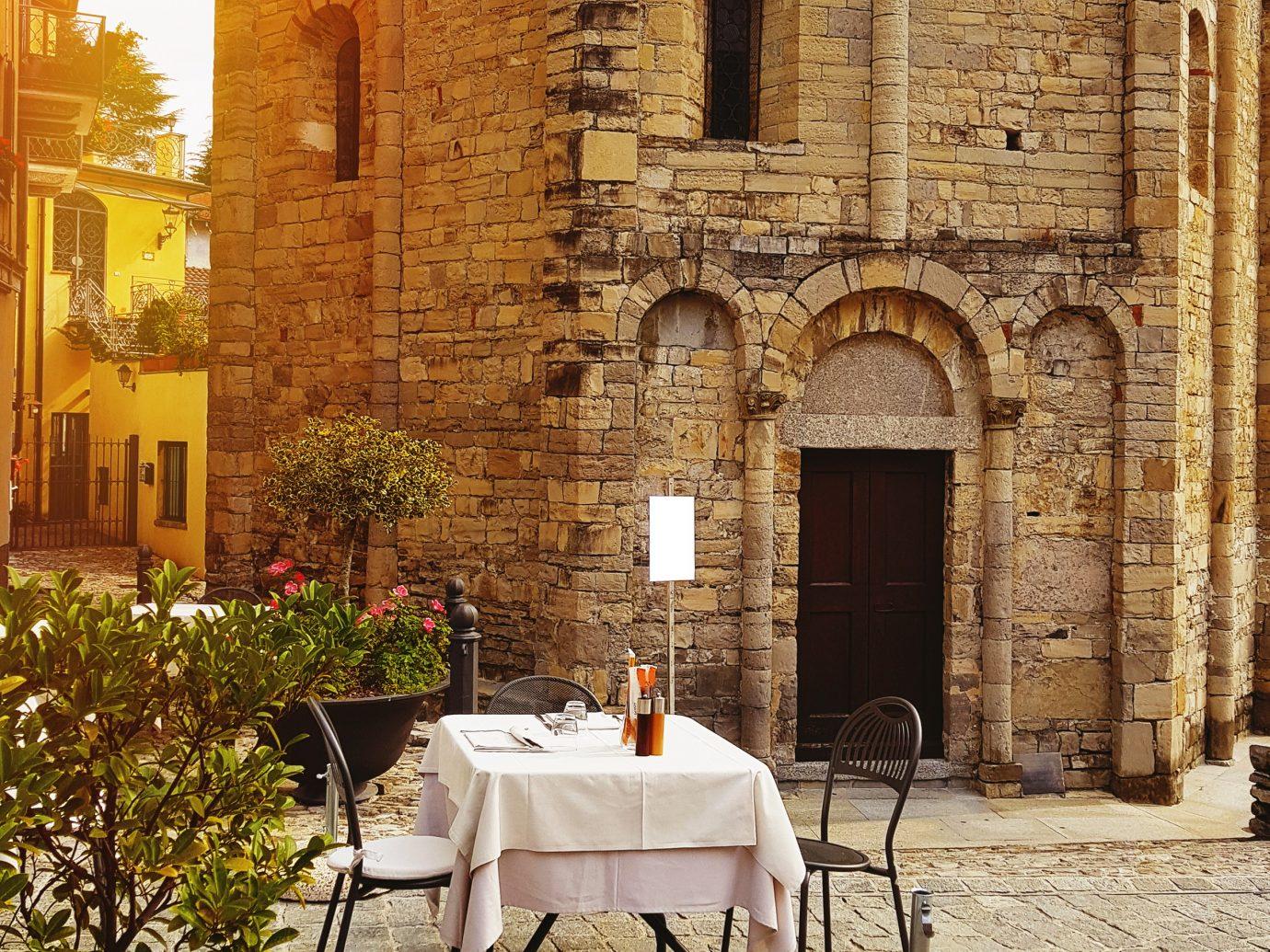Small outdoor cafe in Genoa, Italy