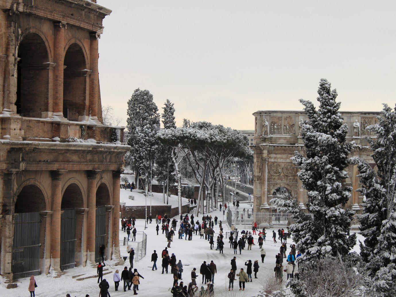 snowy street in rome, italy