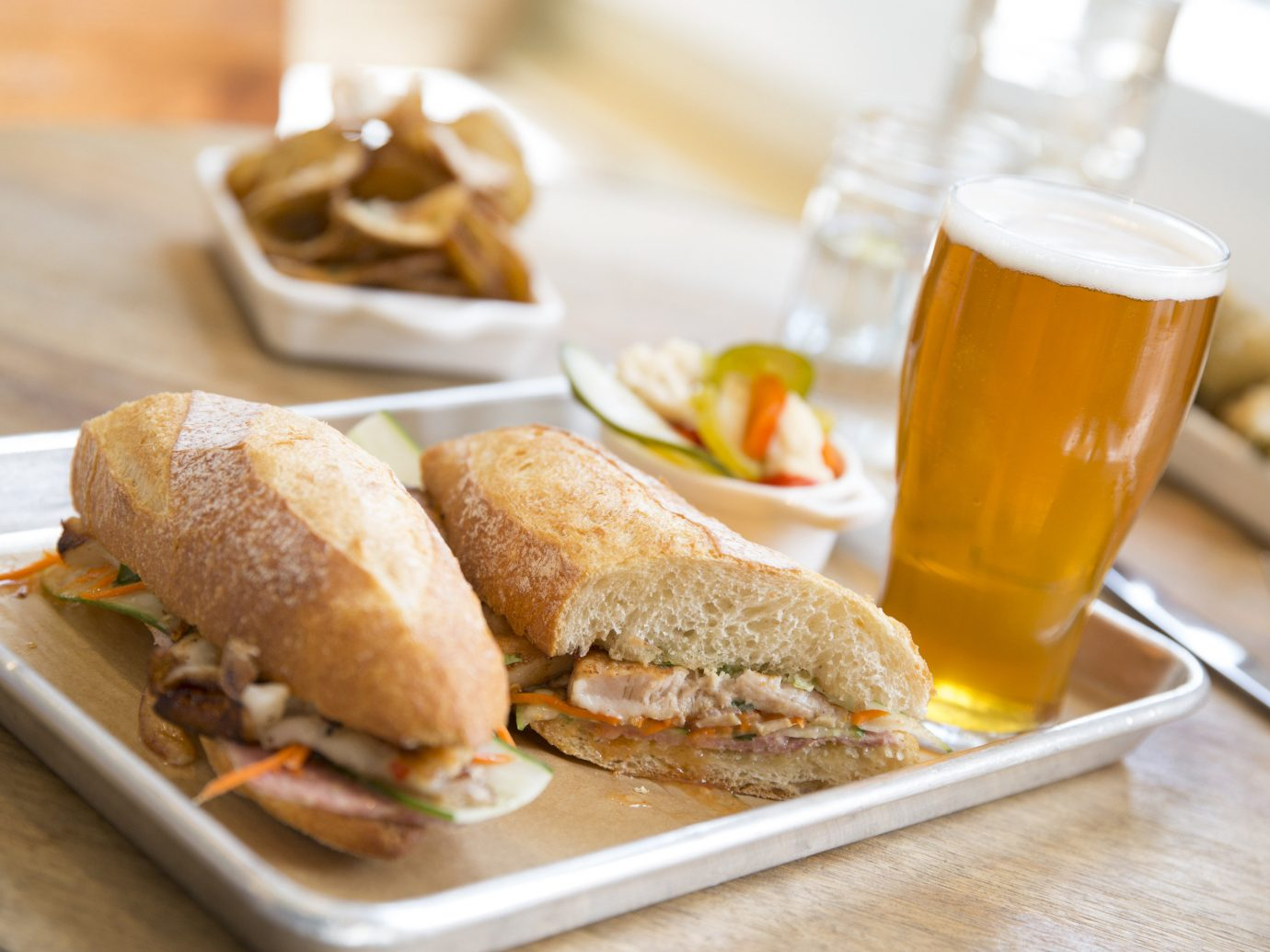 Sandwich and beer at Mercantile Dining and Provisions