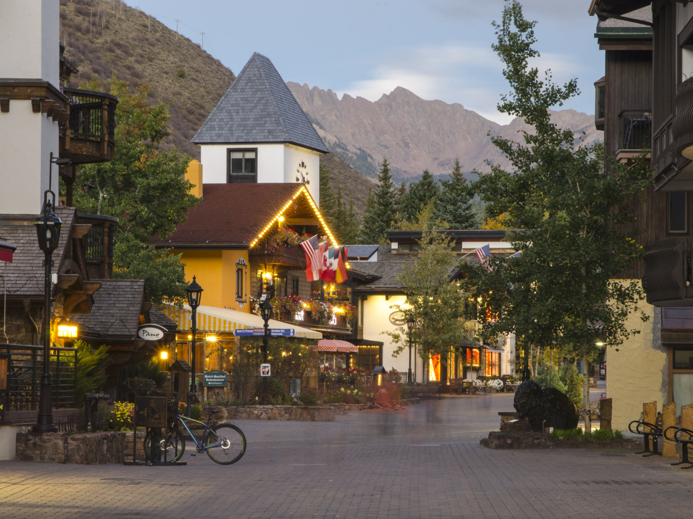 Cute neighborhood with an old timey feel in Vail, Colorado