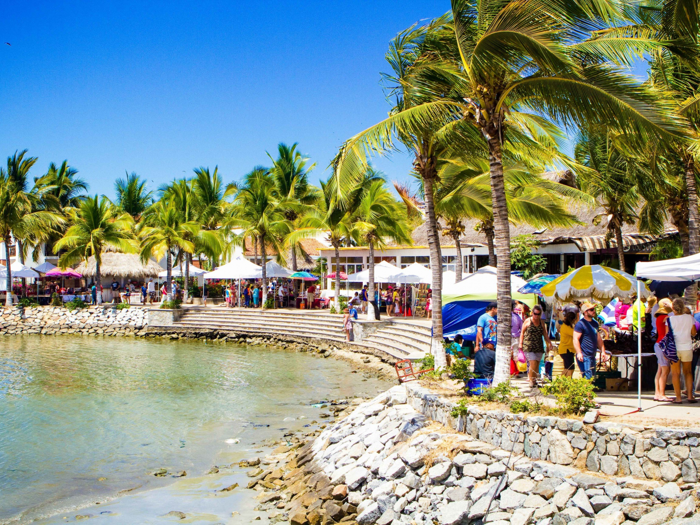 Lively area with tents and set up shops in Puerto Vallarta