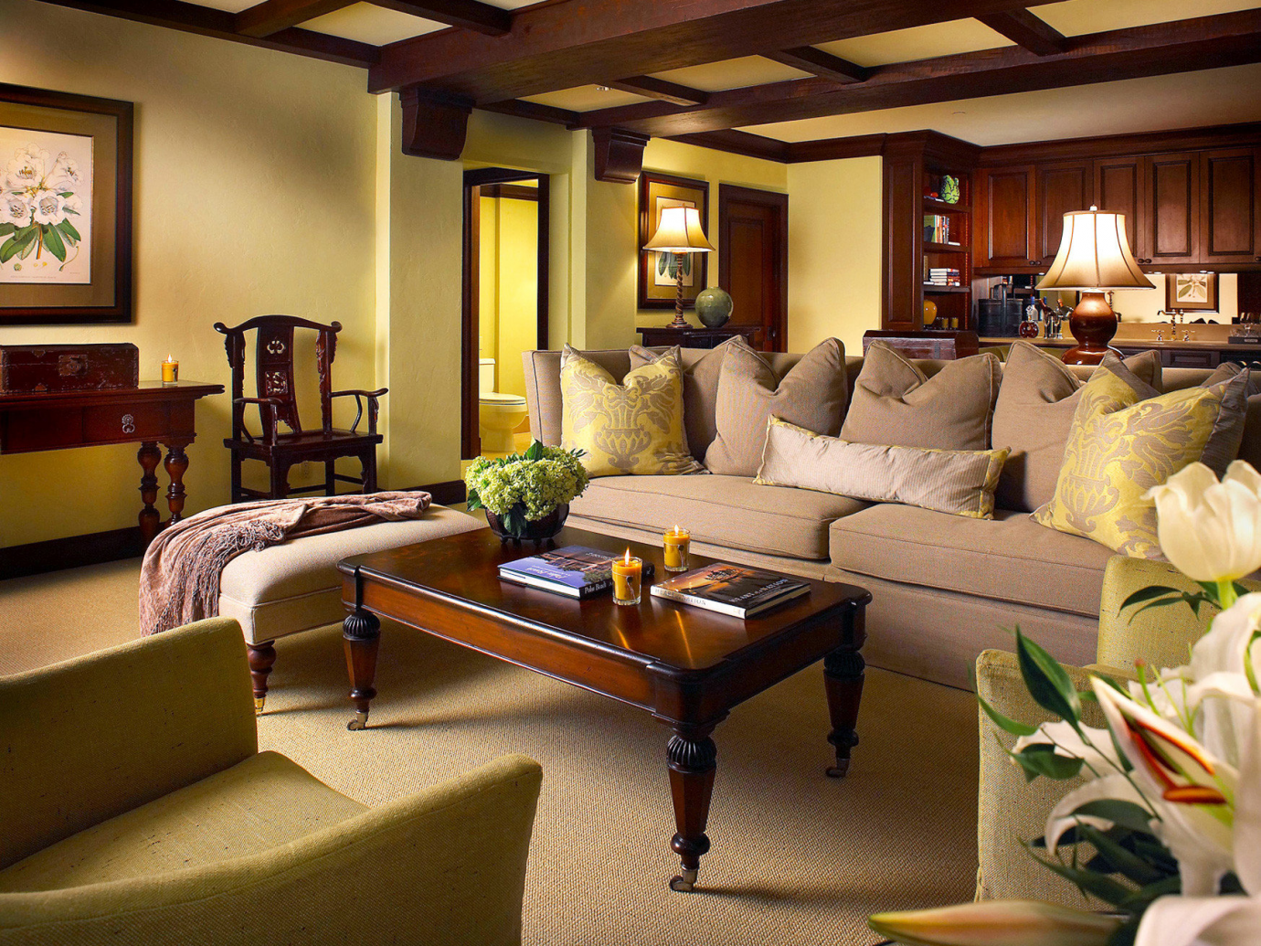 Living area in a suite at The Brazilian Court Hotel