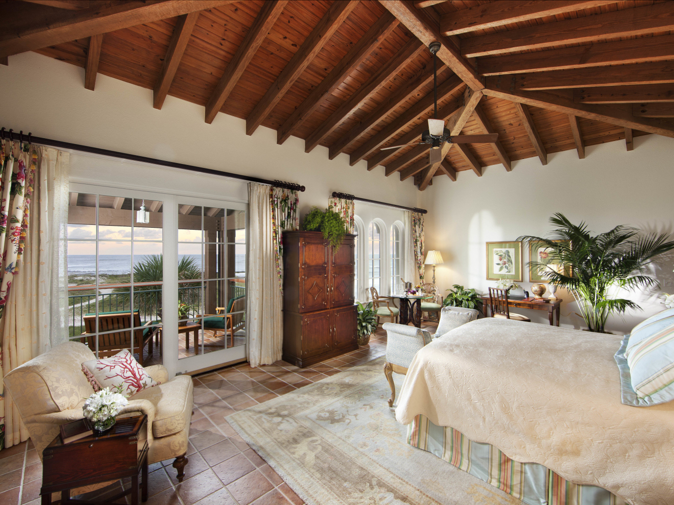 Charming Southern style suite with a view of the water and a balcony at The Cloister at Sea Island