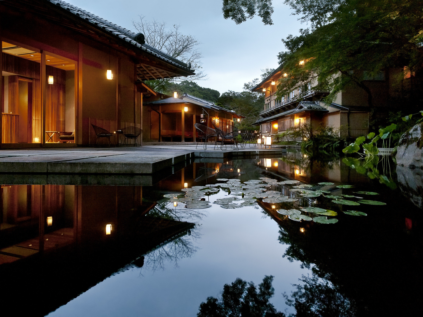 Outdoor pits with still water pond and lily pads at night