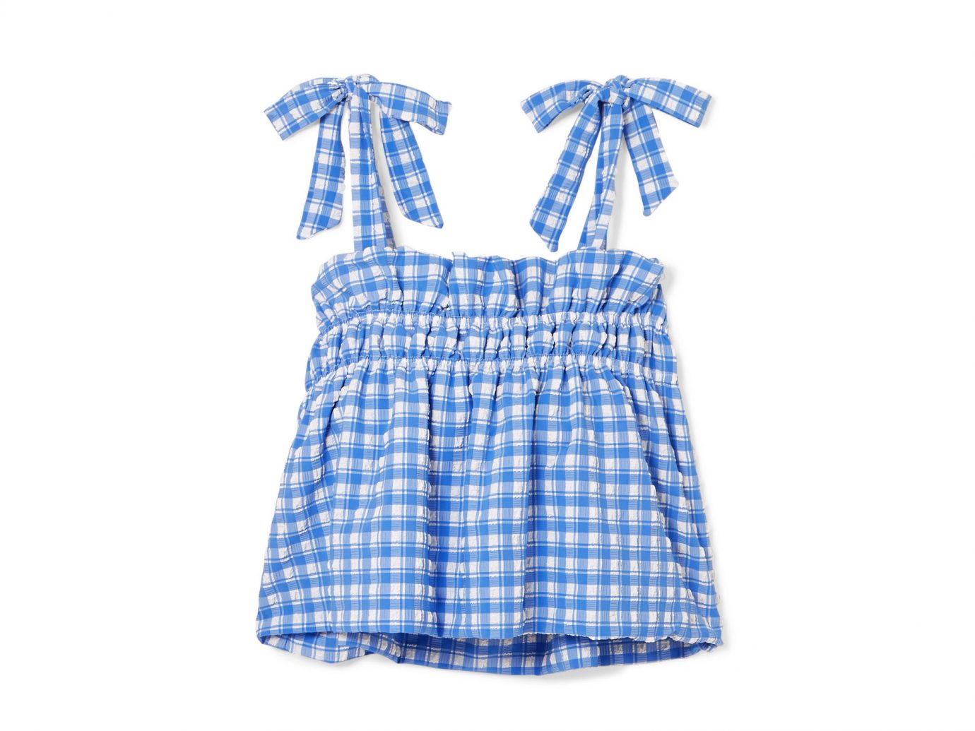 Ganni Murillo cropped gingham seersucker top