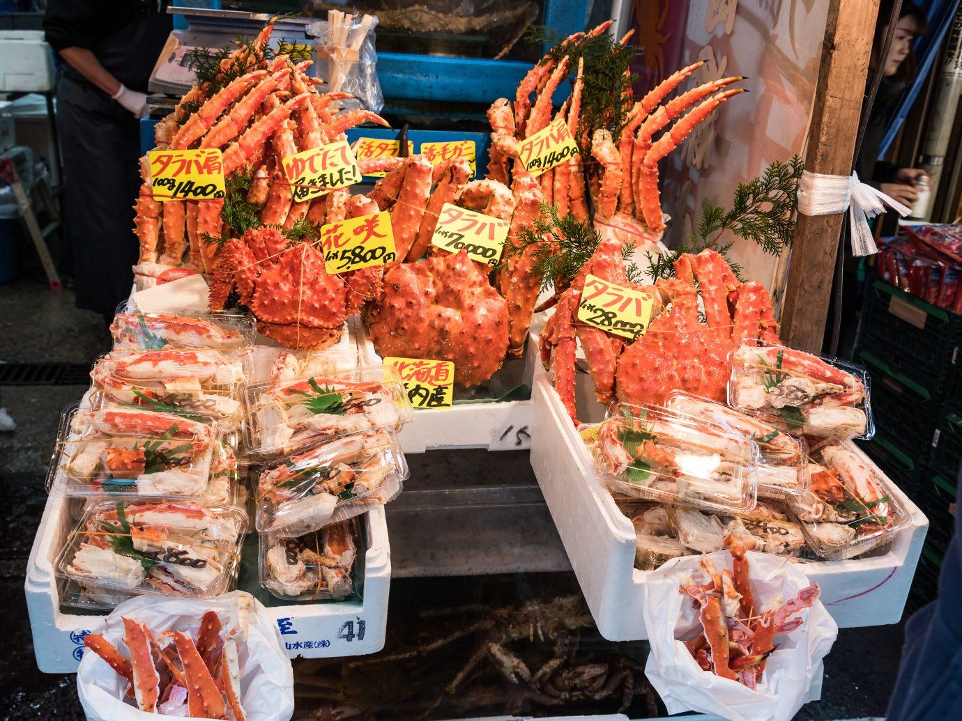 Crabs for sale at the Tsukiji fish market.