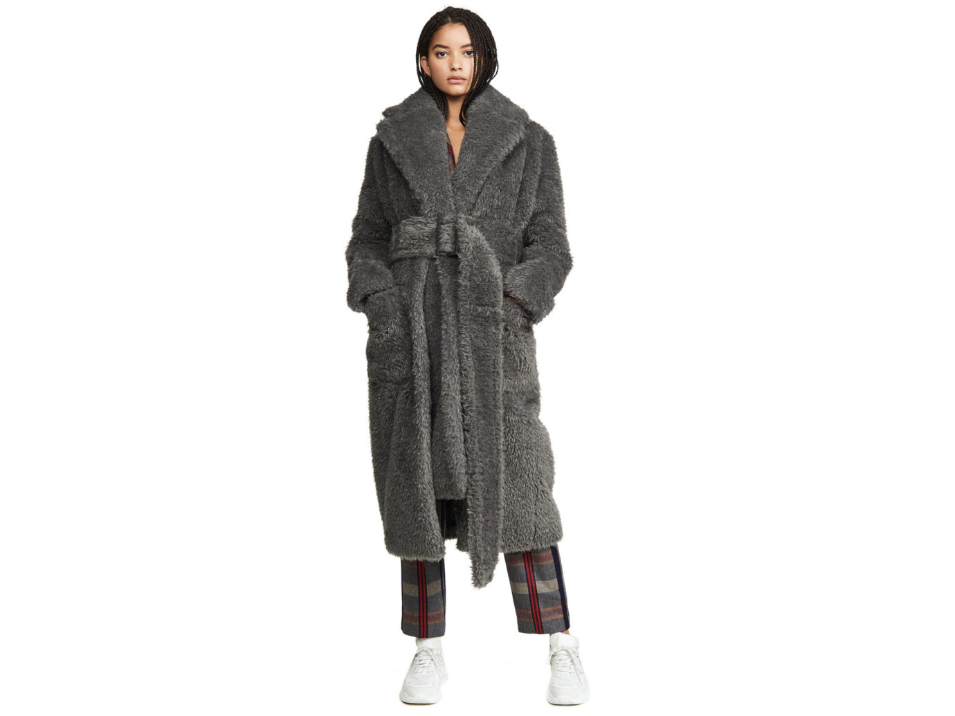 Helmut Lang Shaggy Fur Belted Coat