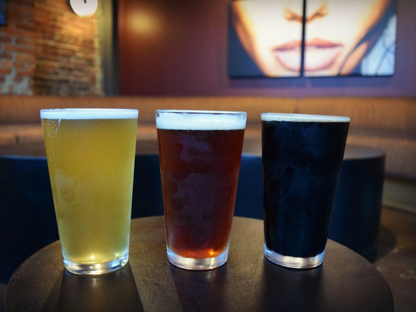 three beers on table