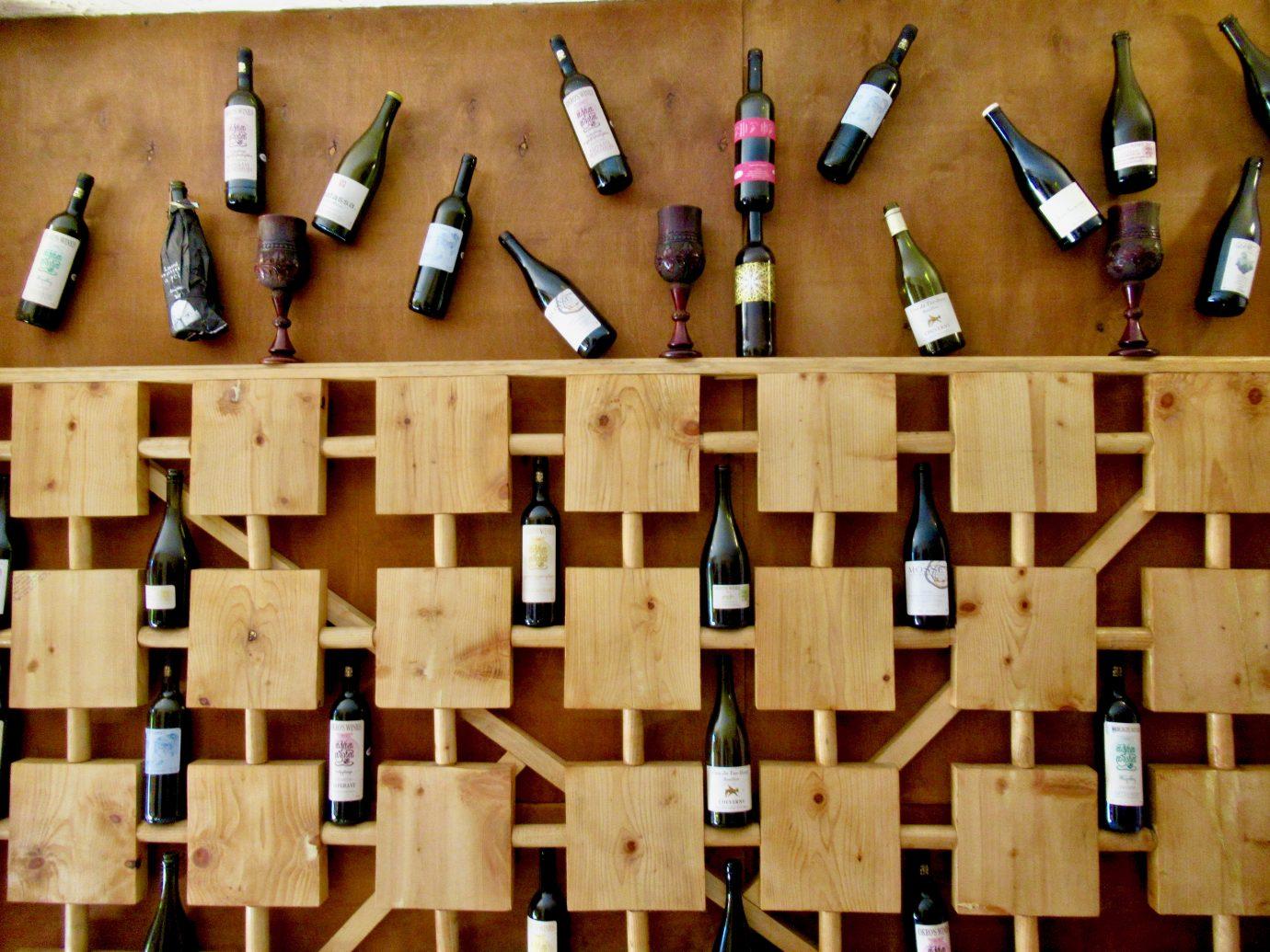 Wine display at Okro's Restaurant