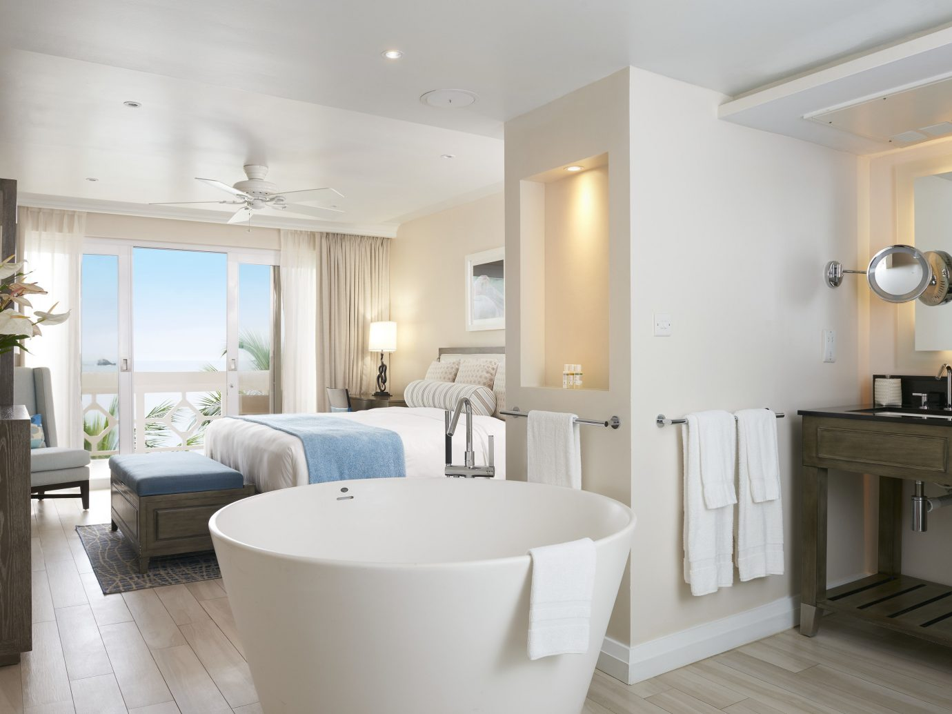 guestroom and soaking tub at The BodyHoliday, St. Lucia