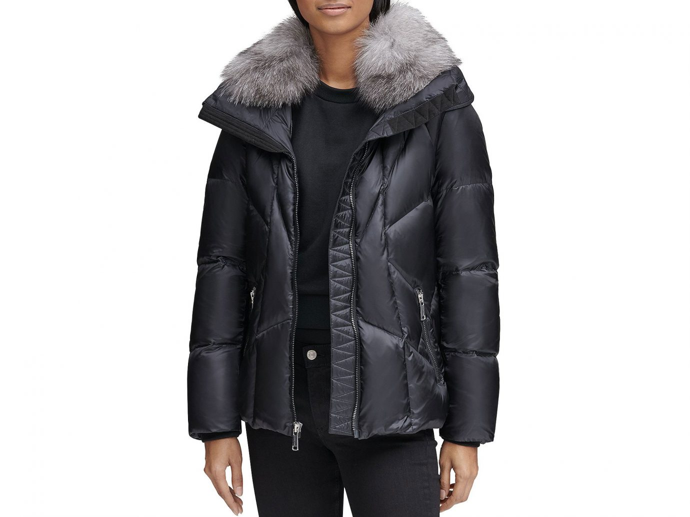 Andrew Marc Naya Fox Fur Trim Short Puffer Coat