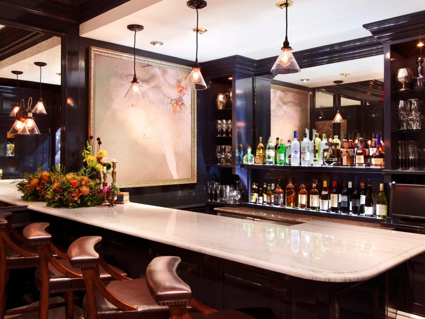 wrap around bar with white counter top