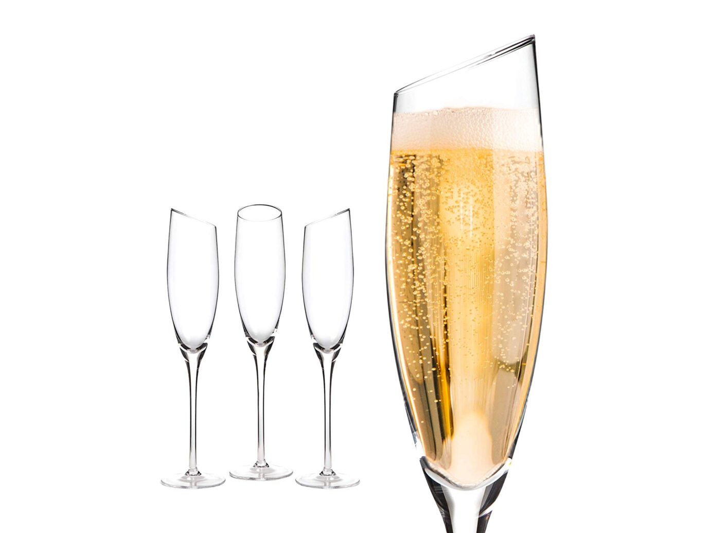 Devaso Slanted Crystal Champagne Glasses