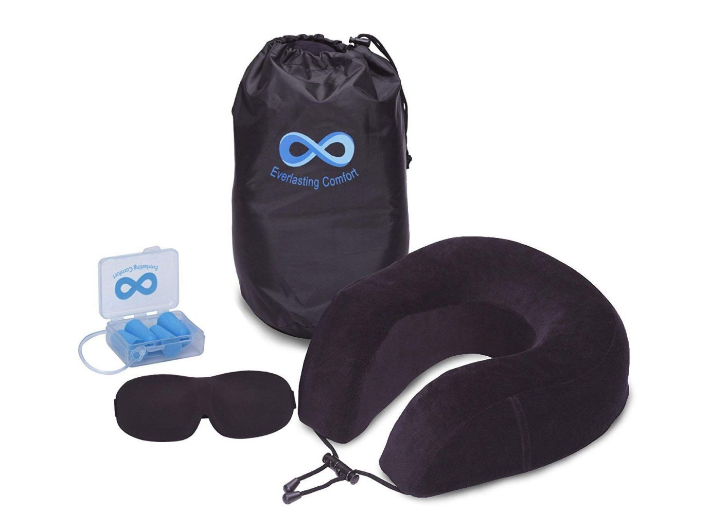 Travel pillow and eye mask set