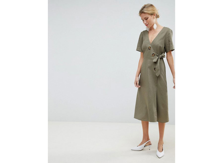 Asos Design Wrap Midi Dress